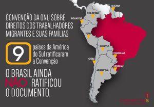 Arte da ONG Conectas para ilustrar a não-ratificação da Convenção de 1990 pelo Brasil