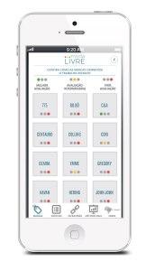 Empresas listadas nesta primeira versão do app Moda Livre e suas respectivas avaliações. Crédito: Divulgação