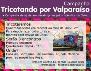 """Convite do evento """"Tricotando por Valparaíso"""", divulgado nas redes sociais. Crédito: Divulgação"""