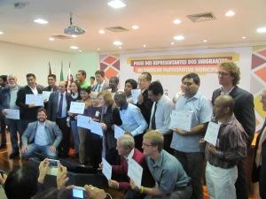 Migrantes eleitos para os Conselhos Participativos são empossados pela Prefeitura. Crédito: Rodrigo Borges Delfim