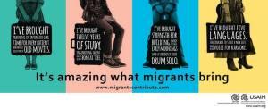 Cartaz que a OIM está espalhando por Washington (EUA), enfatizando as contribuições dos imigrantes. Crédito: OIM/USAIM