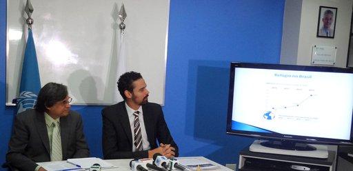 O secretário Nacional de Justiça e presidente do CONARE, Paulo Abrão, e o representante do ACNUR no Brasil, Andrés Ramirez. Crédito: Divulgação
