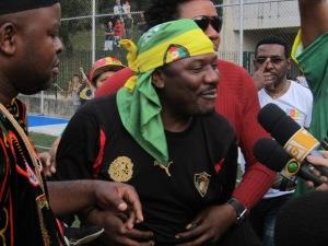 O goleiro camaronês Happi, eleito o melhor jogador da final. Crédito: Rodrigo Borges Delfim