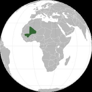 Mapa da África com destaque para a localização do Mali, país independente desde 1960. Crédito: Wikipedia
