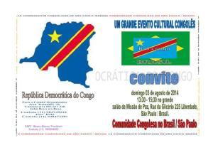 Convite para a festa de 54 anos de independência da República Democrática do Congo, que acontece neste domingo em São Paulo. Crédito: Reprodução