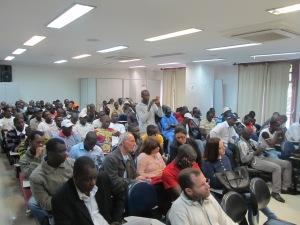 Malineses e imigrantes de outras nacionalidades marcaram presença no encontro. Crédito: Rodrigo Borges Delfim