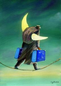 Lua nas costas, malas nas mãos e uma corda bamba sobre os pés. Sem palavras, uma situação que define muitos imigrantes. Crédito: Sergio Ricciuto Conte