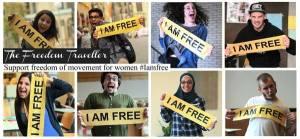 Mulheres e homens mundo afora dão seu apoio à campanha #IamFree. Crédito: The Freedom Traveler