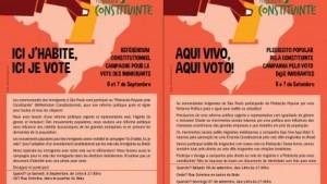 Nos dias 6 e 7, movimentos dão prosseguimento à campanha pelo direito ao voto dos imigrantes. Crédito: CDHIC