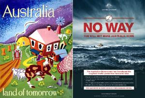 Montagem nas redes sociais mostra contradição da Austrália ao tratar da imigração. Crédito: Reprodução