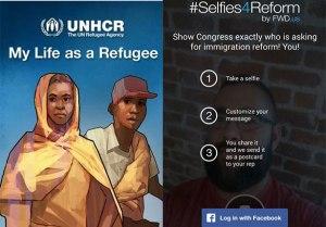 Apps trazem informações e  permitem mobilização sobre migrações e refúgio. Crédito: Montagem/Reprodução