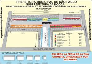 Mapa de como vai ficar a feira da rua Coimbra, agora regularizada pela Prefeitura de São Paulo. Crédito: Luis Vasquez