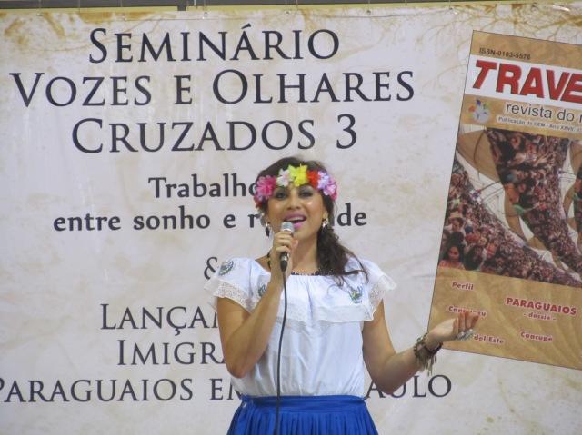 Celina Castro, de El Salvador, agitou o público e foi uma das atrações do seminário. Crédito: Rodrigo Borges Delfim