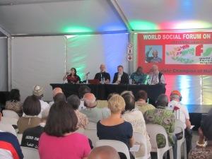 """""""Migração, Globalização e Crises: tendências e alternativas"""" foi o tema principal do terceiro dia do WSFM. Crédito: Rodrigo Borges Delfim"""