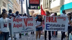 Migrantes de todas as origens levam reivindicações à Marcha. Crédito: Lya Maeda