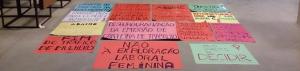 Cartazes feitos pelo Bloco de Mulheres Imigrantes e Refugiadas para o ato de 8 de março, o Dia Internacional da Mulher Trabalhadora. Crédito: Bloco de Mulheres Imigrantes e Refugiadas