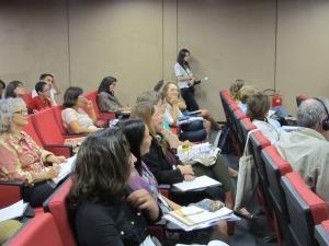 Participantes contribuem com as discussões no seminário. Crédito: Rodrigo Borges Delfim
