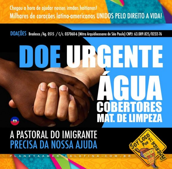 Imigrantes latino-americanos fazem campanha para ajudar a Pastoral do Imigrante. Crédito: Planeta América Latina