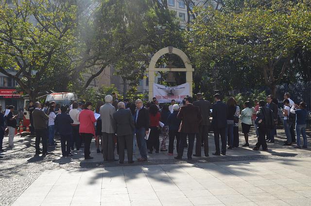 Ato aconteceu no Marco da Paz do Pátio do Colégio, em São Paulo. Crédito: Secretaria de Justiça de SP