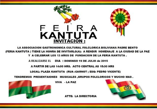 Convite para o aniversário da Feira Kantuta. Crédito: Divulgação