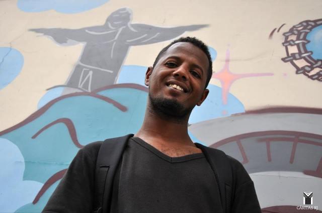 Harouna, que fugiu da guerra na República Centro-Africana, pediu refúgio no Brasil. Crédito: Cáritas RJ