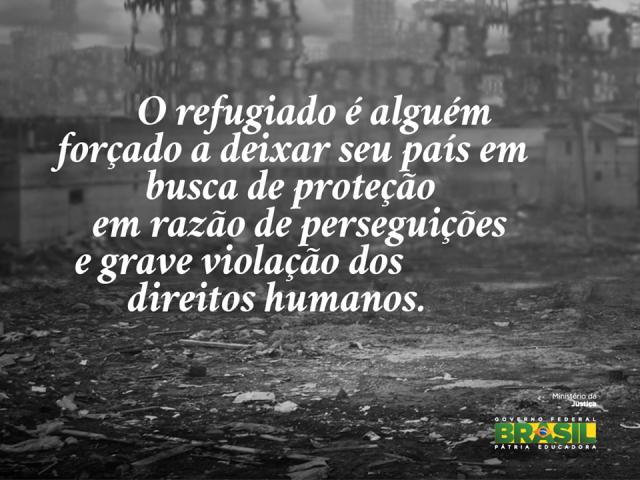 Uma das Imagens da campanha lançada pelo Ministério da Justiça sobre refúgio no Brasil. Crédito: Divulgação