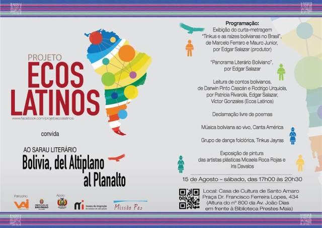 Programação do Sarau do Ecos Latinos que terá Bolívia como tema. Crédito: Divulgação