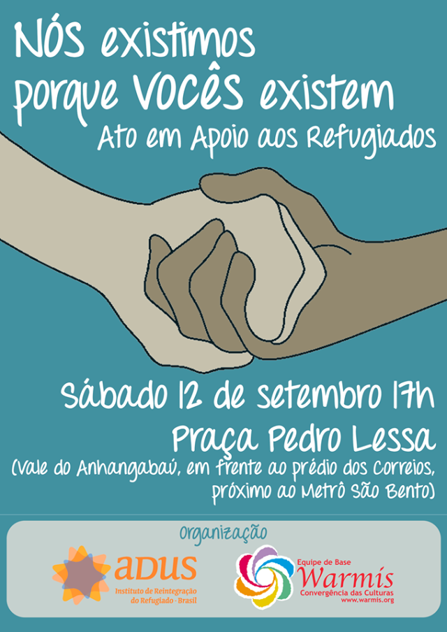 Ato de apoio aos refugiados será na Praça Pedro Lessa, no centro de São Paulo. Crédito: Divulgação