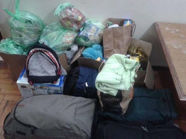 Doações que chegaram à casa de Talal. Crédito: Talal Al-Tinawi