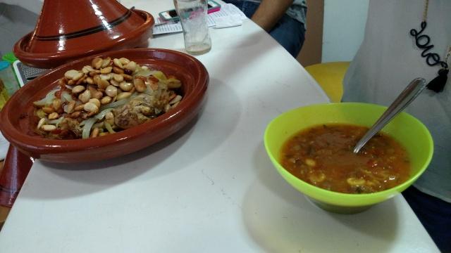 Tajine de frango e Harira, as duas receitas servidas no workshop da tarde. Crédito: Rodrigo Borges Delfim