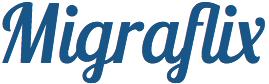 Logo do Migraflix, nova iniciativa que visa empoderar migrantes por meio de suas próprias vivências. Crédito: Divulgação
