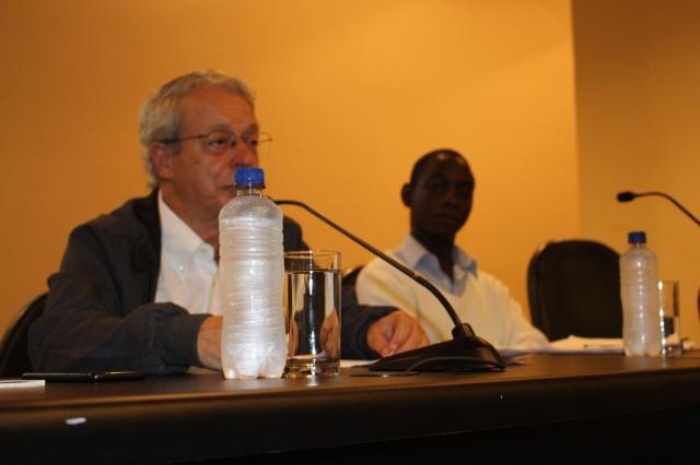 Frei Betto também marcou presença no seminário, falando das causas das migrações contemporâneas no mundo. Crédito: Fábio Queiroz / Agência AL