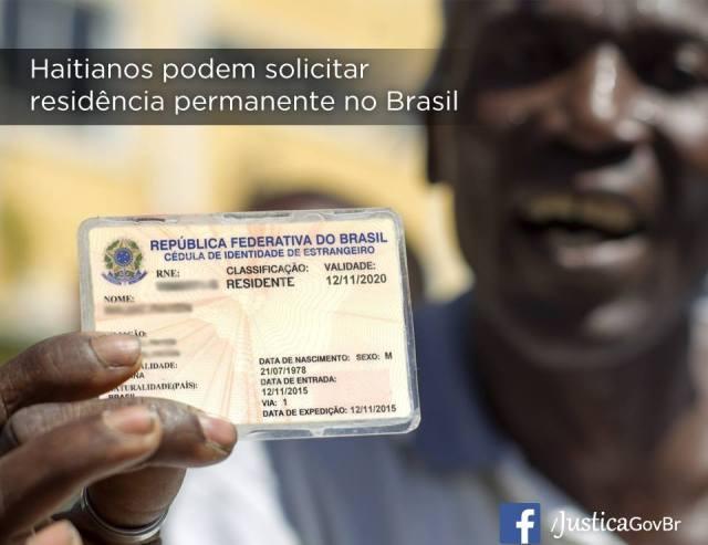 Governo brasileiro permitirá residência permanente para cerca de 43,7 mil haitianos. Crédito: Arte/Ministério da Justiça