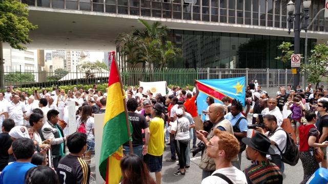 Bolivianos e congoleses foram duas das comunidades presentes na Marcha. Crédito: Rodrigo Borges Delfim