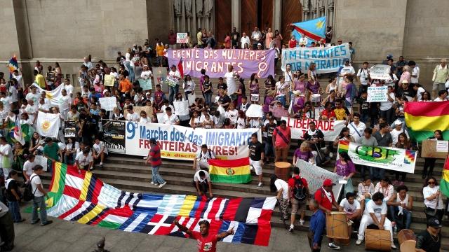 Diversidade foi uma das marcas da Marcha dos Imigrantes deste ano. Crédito: Rodrigo Borges Delfim/MigraMundo