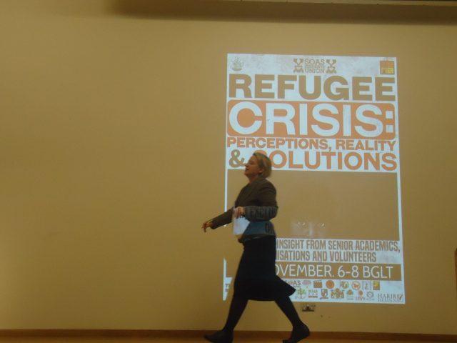 Nathalie Bennett, líder do Grrren Party na Inglaterra e País de Gales, em evento sobre refúgio. Crédito: Victória Brotto/MigraMundo