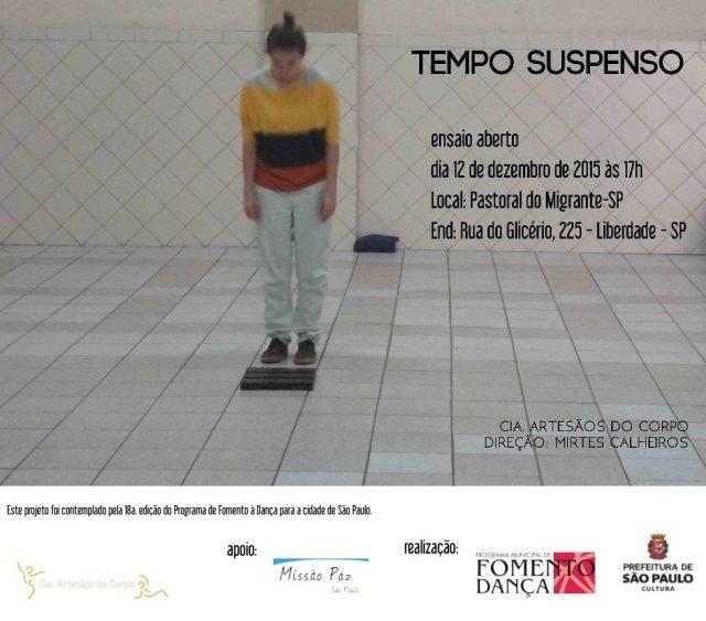 Flyer de divulgação da Tempo Suspenso, peça da Cia. Artesãos do Corpo. Crédito: Divulgação