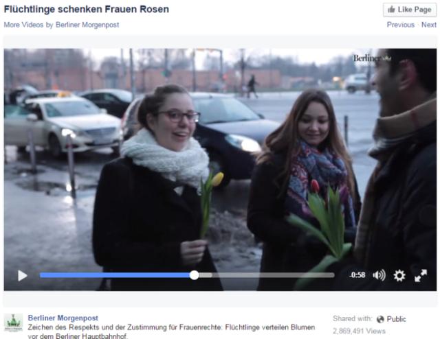 Solicitantes de refúgio entregam flores para mulheres em Berlim (Alemanha), dias depois dos ataques contra mulheres em Colônia. Reprodução/Berliner Morgenpost