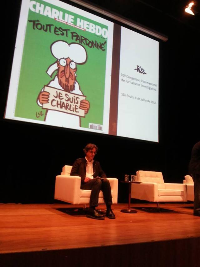 Laurent Sourisseau Riss, diretor da revista francesa Charlie Hebdo, durante o Congresso da Abraji 2015. Crédito: Priscila Pacheco