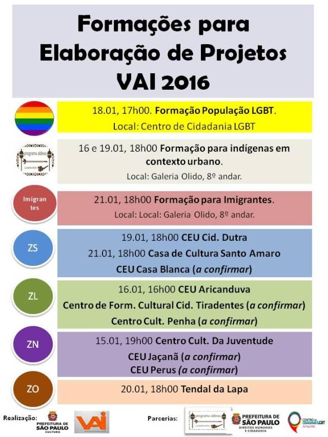 Calendário de reuniões de formação para projetos do VAI 2016. Crédito: Reprodução/blog oficial do VAI