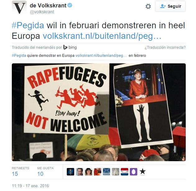 Manifestantes do grupo Pegida (Europeus Patrióticos Contra a Islamização do Ocidente, na sigla em Inglês), organizam protesto na cidade de Leipzig Crédito: Reprodução