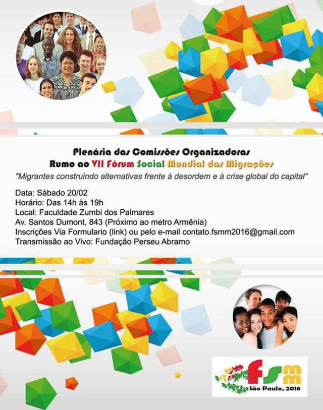 Plenária das comissões do FSMM¹WSFM acontece no dia 20, em São Paulo. Crédito: Divulgação