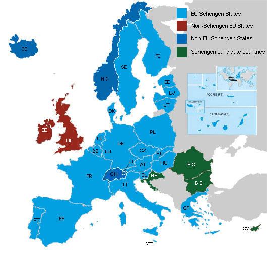 Mapa da Europa de acordo com o Espaço Schengen. Crédito: Reprodução/ec.europa.eu